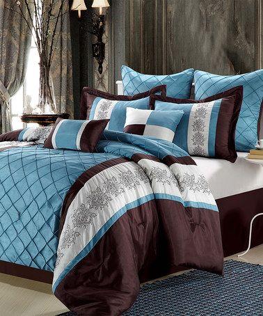 Look at this #zulilyfind! Blue Livingston Embroidered Comforter Set #zulilyfinds