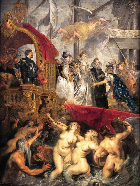 """Rubens, l'Arrivée de Marie de Médicis, Le Louvre- Son arrivée en France après le mariage florentin par procuration est retentissante. 2000 personnes constituent sa suite, c'est Antoinette de Pons, dame d'honneur de la future reine qui l'accueille à Marseille. La marquise avait résisté aux projets galants du roi, celui-ci lui avait dit """" puisque vous êtes réellement dame d'honneur, vous la serez de la reine ma femme"""". Marie de Médicis rejoint son époux à Lyon où ils passent leur nuit de noce."""