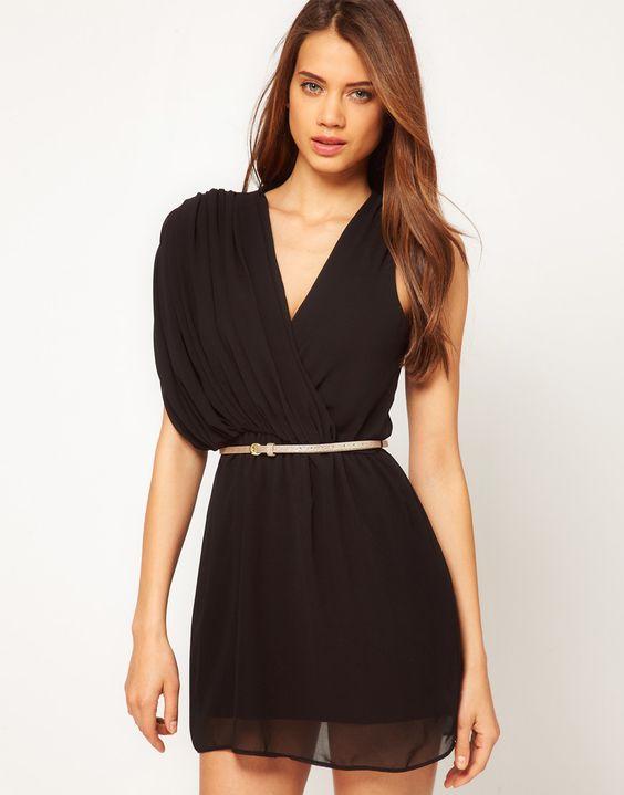 asymmetric drape chiffon dress