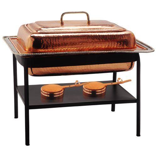 "Old Dutch 21""x16""x19"" Rect Décor Copper Chafing Dish, 8 Qt"
