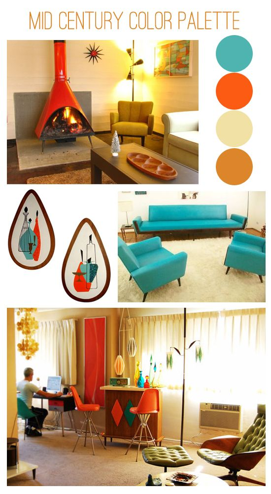 Mid-century modern color inspiration from Oh So Lovely Vintage, featuring turquoise, orange, beige, and brown. The 1960s certainly loved orange. While I *definitely* love various style references from the 1960s, I do *not* necessarily love orange. But the turquoise is fab. ;)