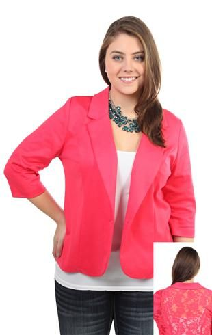 plus size 3/4 sleeve knit blazer with floral lace back