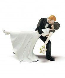 "// ""Romantic Dip"" Bride and Groom Figurine Wedding Cake Toppers"