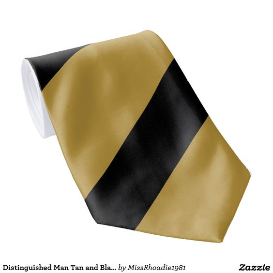 Distinguished Man Tan and Black Neck Tie  You will certainly be a distinguished man when you wear this tan and black necktie. Featuring bold tan and black colors intertwined together in perfection, you will command attention wherever you go.  #zazzle #tie