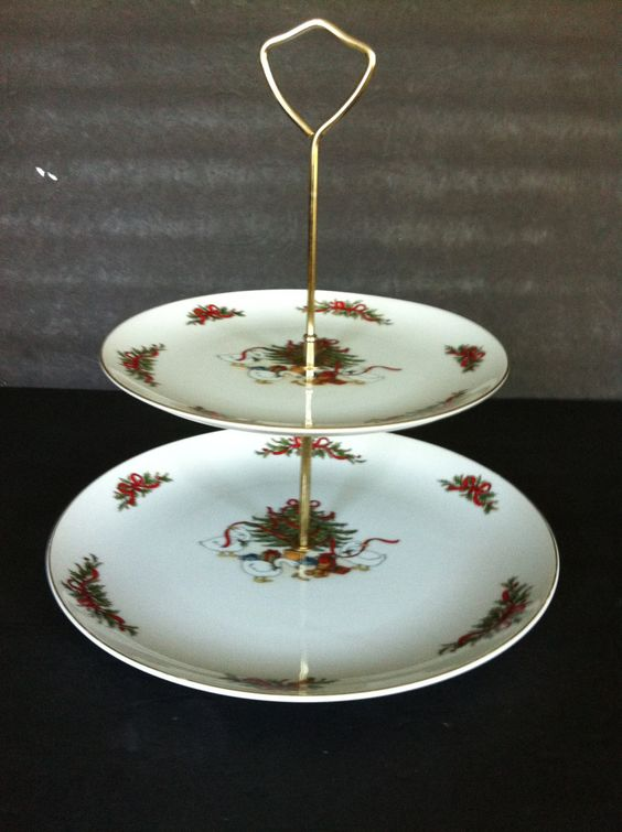 Christmas Goose Holly Ribbon 2 Tier Tidbit Cookie Candy Tray Set by HochePotBoutique on Etsy