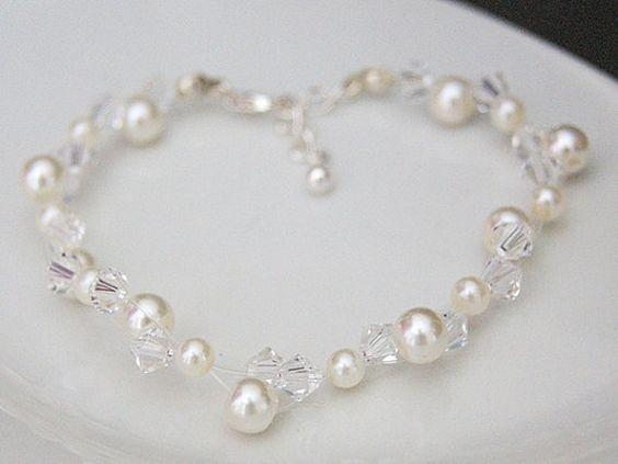 Pearl and Crystal Bracelet  Bridal Jewelry by WeddingAndGems, £24.99