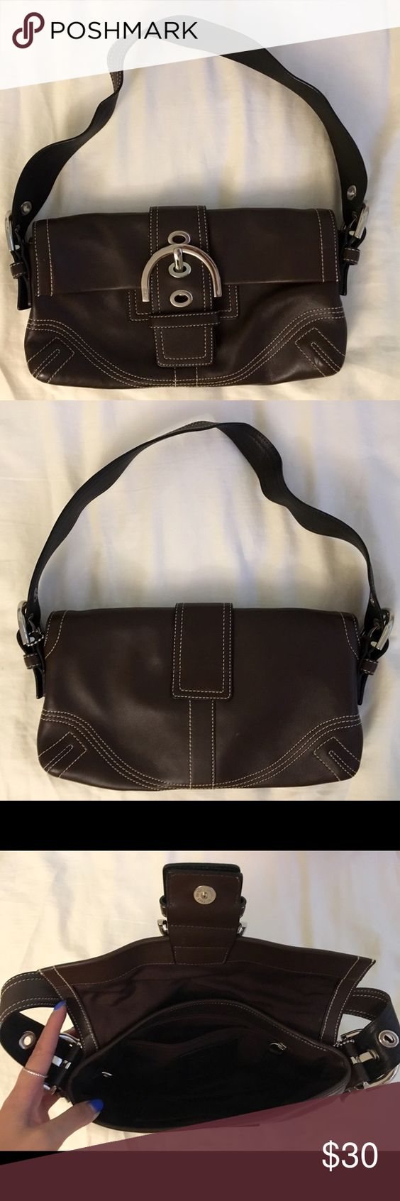 Dark Brown Coach Purse A small dark brown coach purse to compliment your casual brunch outfit! It has only been used once or twice so it is in great condition! Coach Bags Mini Bags