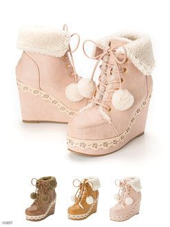Rose punching! pomponwedgeheel boots wedge short boots slapping rose walk easy cute lace-up luxury fashion BOA fall winter warm classy Miss like thick bottom retro girly Lolita ladies shoes high heels short boots dream vision ◆ 10/16 shipping calendar