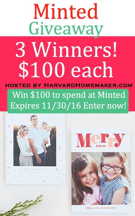 MINTED GIVEAWAY! Three Winners to Receive $100 to Spend at Minted! This is my favorite site for holiday cards!!! LOVE! Offer expires 11/30/16 at 11:59 pm PT. Enter before you forget. Just takes a second! #minted #giveaway #christmascards #holidaycards #harvardhomemaker