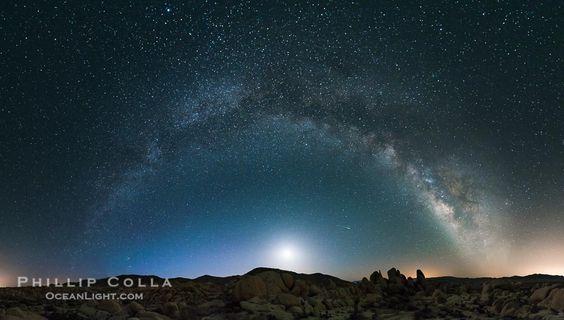 Joshua Tree National Park, La Voie Lactée et la Lune, Shooting Star