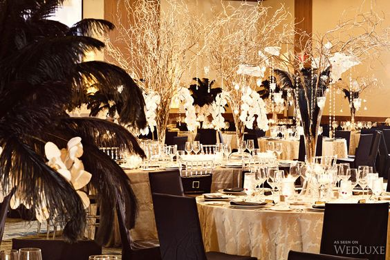 Timeless Ivory Gold Wedding With Scottish Traditions In: Gala Decor, White Branches And Black Gold On Pinterest