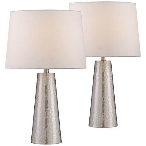 Silver Leaf Hammered Metal Cylinder Table Lamp Set Of 2 57t09 Lamps Plus Lamp Table Lamp Sets Table Lamp