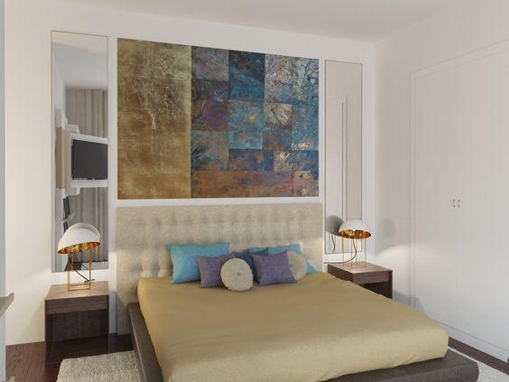 Quarto Gold & Blue -  A sobriedade percorre toda a decoração deste quarto inserido num apartamento de 220m2 em Lisboa, Portugal.  www.baobart.pt #baobart #mobiliario #decor #design #pecasdecorativas #atelier #Portugal #Lisboa #instadesign #designcool #décoration #inspiration #interiordesign #instadecor #creative #beautiful #bedroom #gold #blue #decoracaocriativa #color #quarto #azul #dourado #fall #outono