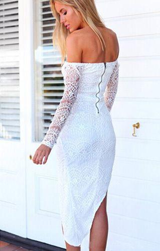 Sexy Off-shoulder Slash Neck Irregular Lace Dress