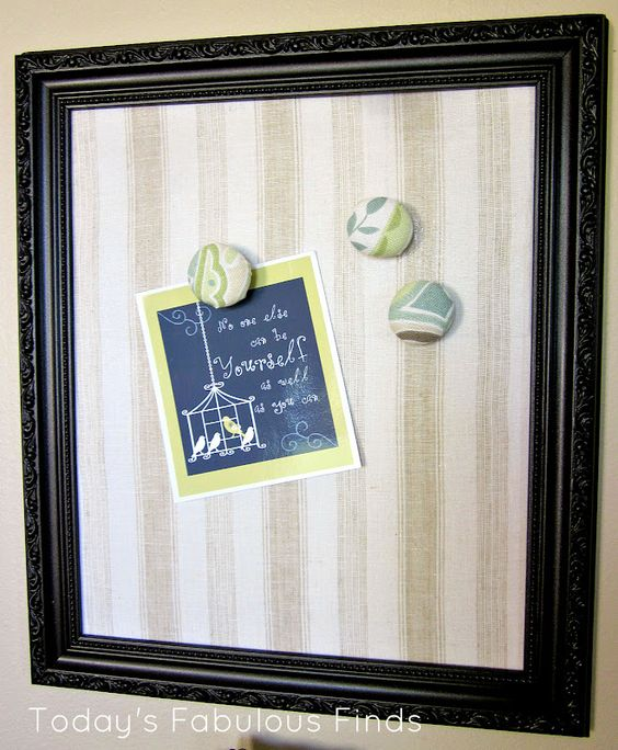 Today's Fabulous Finds: Fabric Covered Magnet Board and Covered Glass Stone Magnets