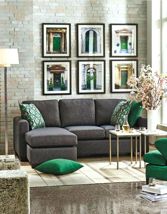Image Result For Emerald Green Grey And Brown Room Grey