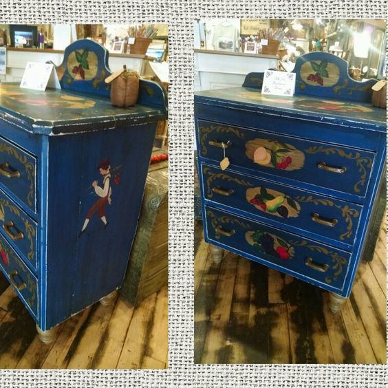 Folk art hand painted dresser. $224.99 #cherisheverymoment #homedecor #upcycling