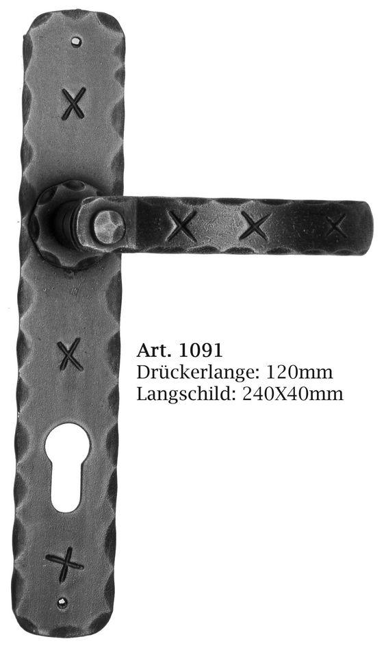 Langschildgarnitur Schmiedeeisen rustikal von Galbusera. Rustic Wrought Iron door Handle.