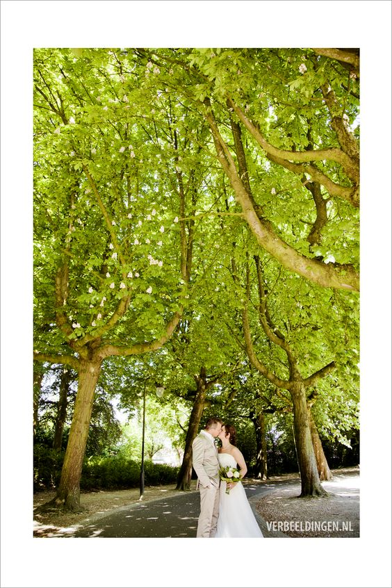 Kissing in the park under the blooming trees / een kus in het park onder de bloeiende bomen