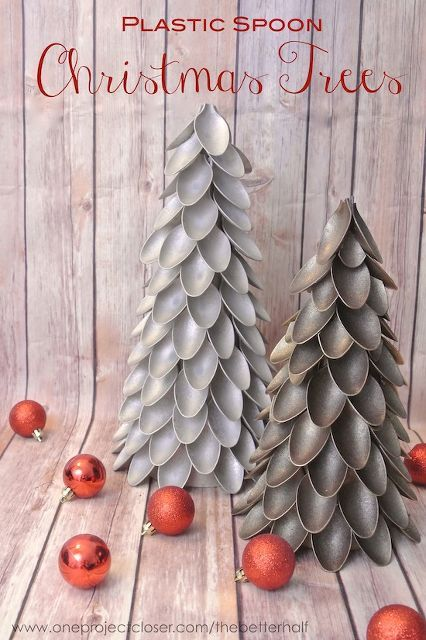 plastic spoon christmas trees, crafts, repurposing upcycling, seasonal holiday d cor, Plastic Spoon Trees are a unique and pretty way to decorate on the cheap for the holidays