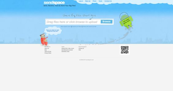 https://www.sendspace.com/ Sem qualquer necessidade de registo, o Sendspace permite que você envie arquivos com até 300 MB e quem receber o arquivo tem até 30 dias para fazer o download. Se você quiser arquivos maiores, ele tem planos que começam nos $8.99/mês. Uma das suas funcionalidades interessantes é o sistema de Drag and Drop, ou seja, você pode arrastar o arquivo e colocá-lo diretamente no site.