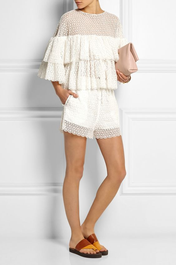 Chloé | Crocheted lace shorts | NET-A-PORTER.COM:
