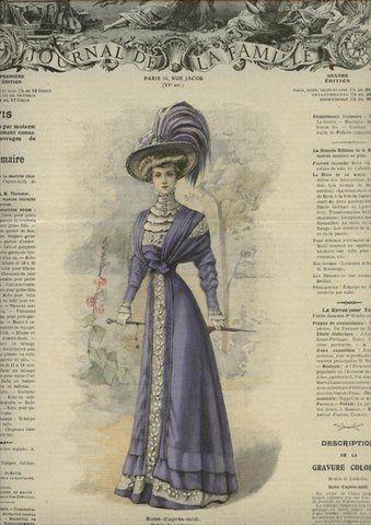 1909 Journal de la Famille, beautiful purple gown