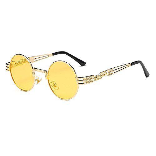 Herren oder Damen Vintage Retro Stil Sonnenbrille Gold Rahmen Leicht Getönt