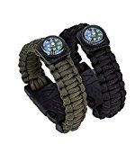 cool Gemgo Bracelet Survival Kit With Compass Paracord Fire Starter Scraper Whistle (2 pieces(1*black+1*green)) Reviews
