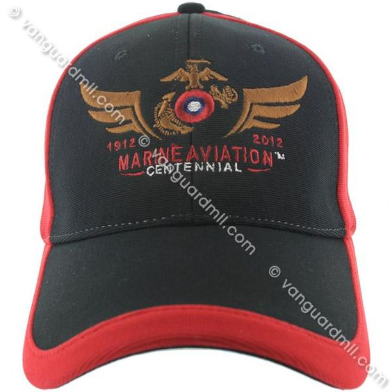 Marine Corps Performance Ball Cap: Marine Aviation Centennial-Black & Red