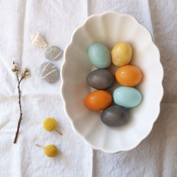 Natural Dyes for Easter Eggs  1 qt water, 2TVinegar.  Beet: orange  Blueberry: grey  Red Cabbage: bright blue  Red onion skin: yellow  Tumeric: bright yellow  Add the ingredients to boiling water & eggs for 15 minutes.    ?fermented red cabbage: fuscia   Add egg to the fermented liquid and allow to sit until desired color.