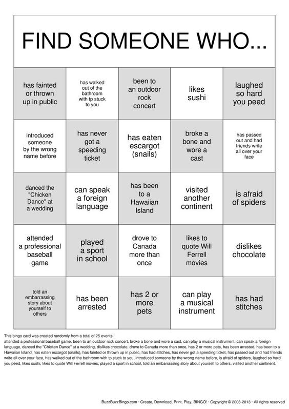 Printables Getting To Know You Worksheet For Adults getting to know reunions and family on pinterest get you bingo cards download print