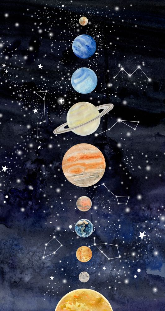 Solar System Art Print By Le Anya X Small Solar System Art Planet Painting System Wallpaper