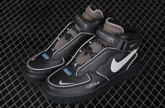 C2H4 x Nike Air Force 1 Mid Black Reflective