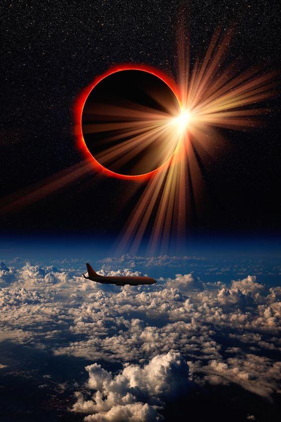 Lua sol avião