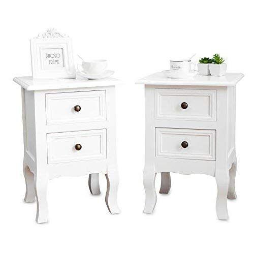 weiß Schlafzimmer Kommode Nachttisch 2 Schubladen Holz Nachtschrank Retro