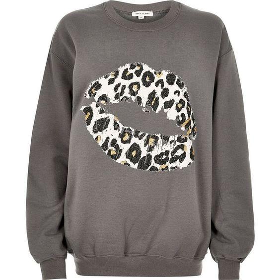River Island Grey leopard lip print sweatshirt ($52) ❤ liked on Polyvore featuring tops, hoodies, sweatshirts, grey, t shirts / tanks, women, long sleeve tops, grey sweatshirt, gray crewneck sweatshirt and cotton sweatshirt