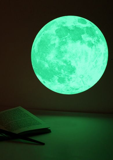 uber cool clair de lune glow-in-the-dark moonlight wall-sticker which glows in the dark like a real full moon. #thiscounts  #home #decor #homedecor #wallart #glowinthedark #moon #moonlight