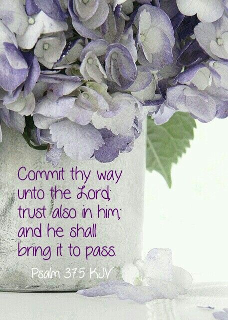 Psalm 37:5 (KJV) ~ Commit thy way unto the LORD; trust also in him; and he shall bring it to pass.