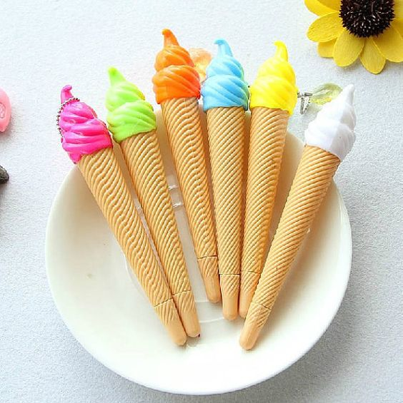 These ice cream pens. | 27 Food-Themed School Supplies That'll Make Your Classmates Drool