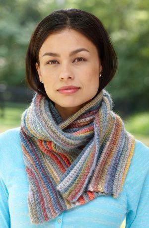Free Crochet Pattern: Striped Ribs Scarf