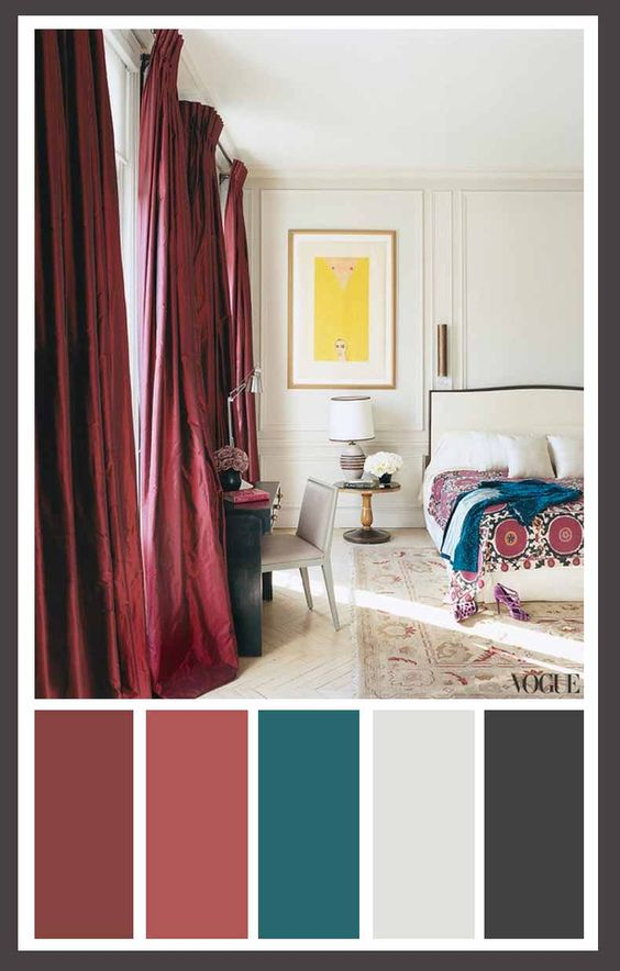 Burgundy Curtains And Room Color Schemes On Pinterest