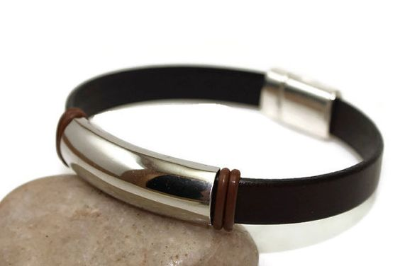Men's leather bracelet  leather bangle  man by LuckyBeadsBox