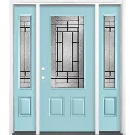 Masonite Pembrook 64 In X 80 In Fiberglass 3 4 Lite Right Hand Inswing Caribbean Blue Painted Prehung Single Front Door Brickmould Included Lowes Com Entry Door With Sidelights Entry Doors Glass Decor Horner millwork and masonite are your. pinterest