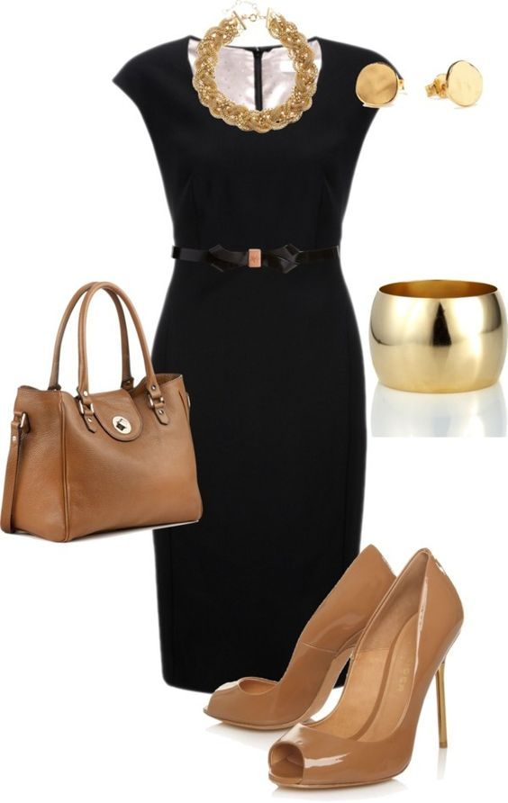 Black and nude. Ultimate power look. This classic black dress is great for any presentation or day in the office. This look is professional and sophisticated. Accessorized with simple gold jewelry and nude shoes & bag, you'll be unstoppable!