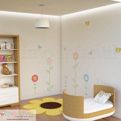Adesivo de Parede Infantil e Bebê Flores (fácil instalação, lavável)