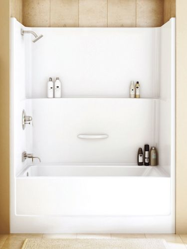 all-in-one shower and tub, I like the shelf all the way across for shampoo and conditioner