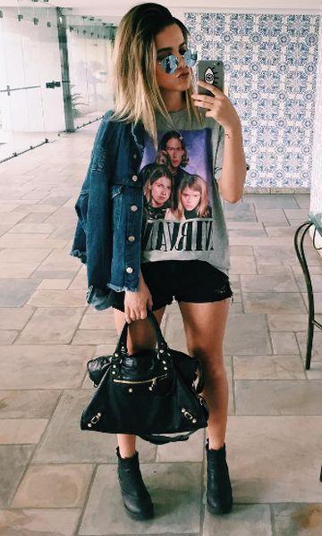 Look: Jaqueta Jeans + T-shirt de Manu Gavassi