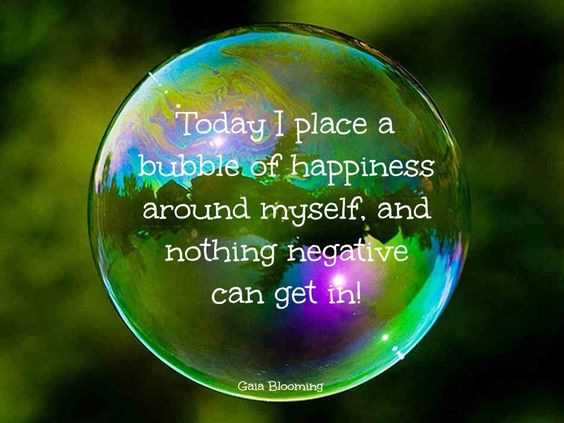 """This is what I call, """"My happy, little bubble."""" Boy, do I need to get back into that bubble asap."""