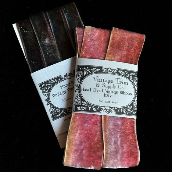 Hand Dyed Vintage Velvet Ribbon